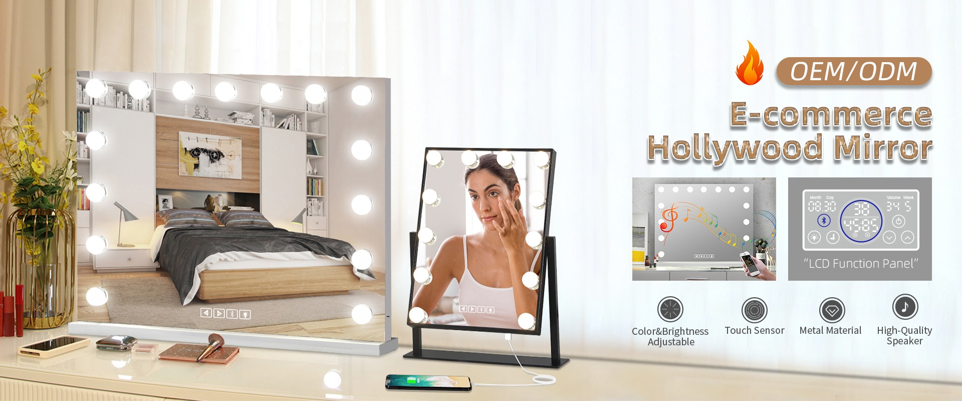 tabletop makeup lighted mirror