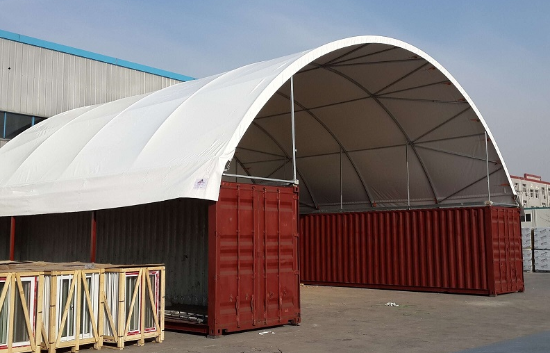 Cheap Container Curve Tent, Discount office container tent, warehouse container tent Price