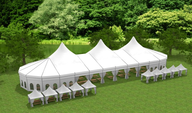 Curve And Pagoda Mixed Tent