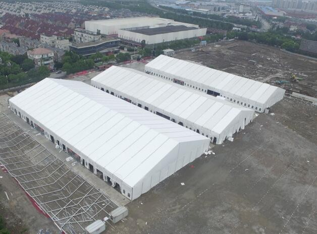 Huge marquee tent for art exhibition
