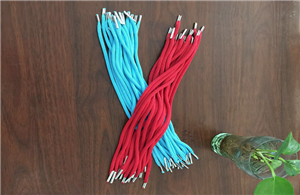 Knitted paper cord with iron barbs