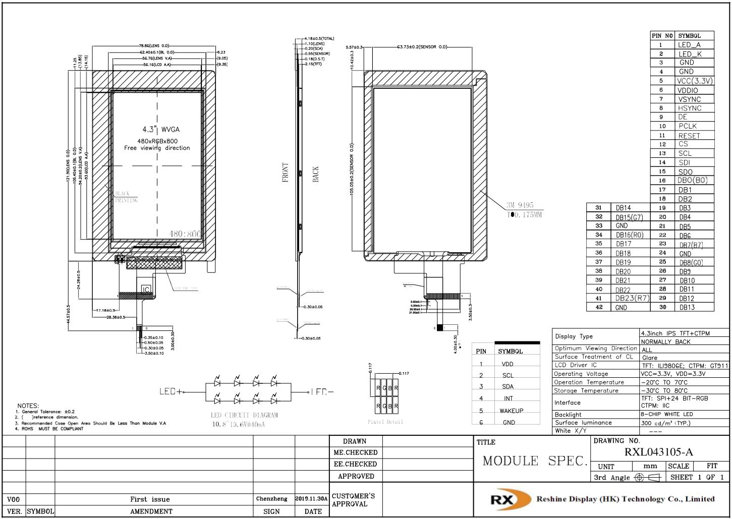 4.3 innch 480x800 ips lcd