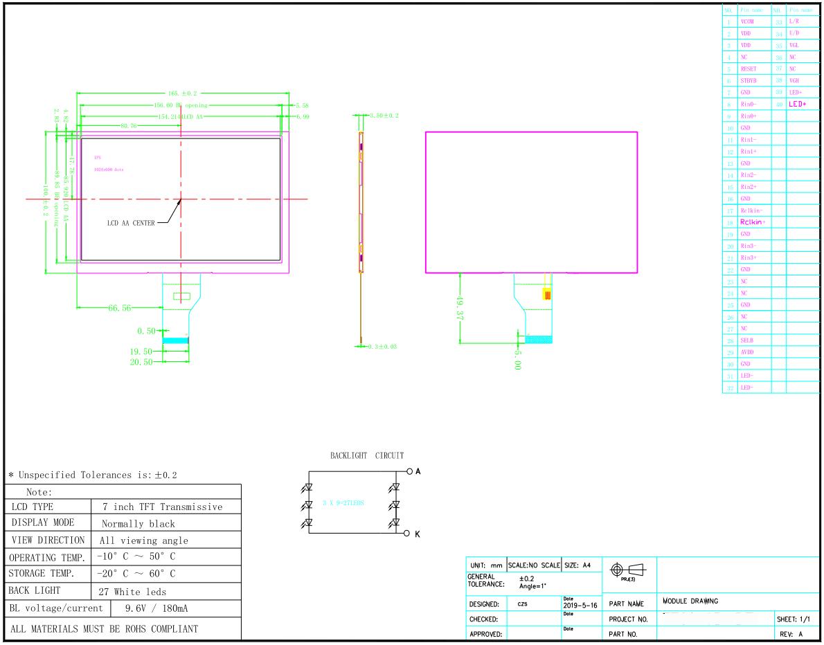 Écran LCD TFT 7 pouces avec CTP