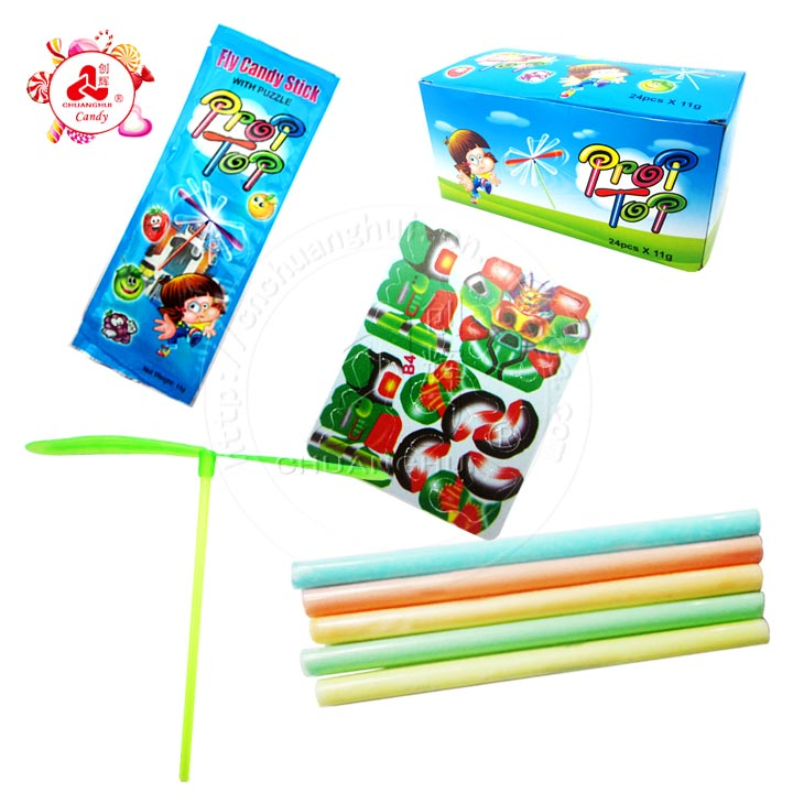 Puzzle CC stick with Bamboo Dragonfly Flying Toy Candy