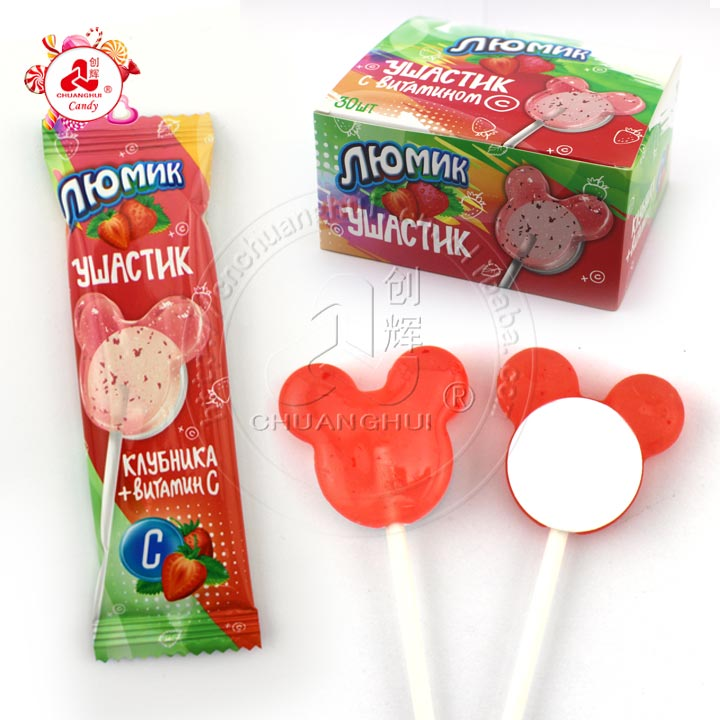 2 In 1 Hard Candy Strawberry Candy Mickey Lollipop