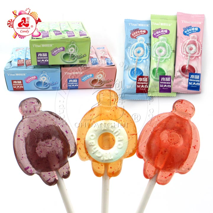 2 and 1 crystal lollipops with roll candy