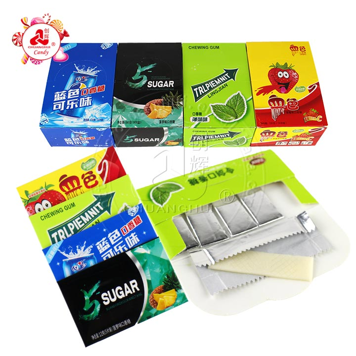 5 in 1 Strips Chewing gum with many flavors and colors/chewing Gum with natural pigment