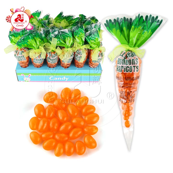96g de bonbons jelly beans à l'orange dans un sachet de carottes