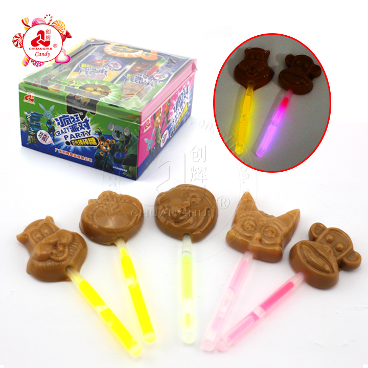 Zootopia Animals Fluorescent Lollipop/Glowing Neon Light Stick Chocolate Flavor Lollipop