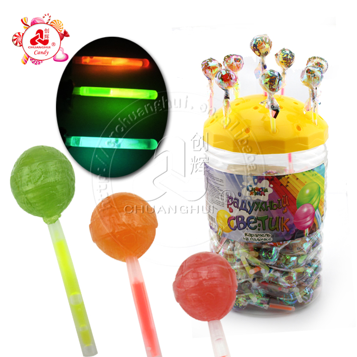 10g Glowing Neon Light Ball Lollipop / Fruity Fluorescent Crystal Lollipop