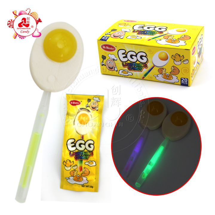China Candy Toys Glow Stick Egg Lighting Candy Lollipop