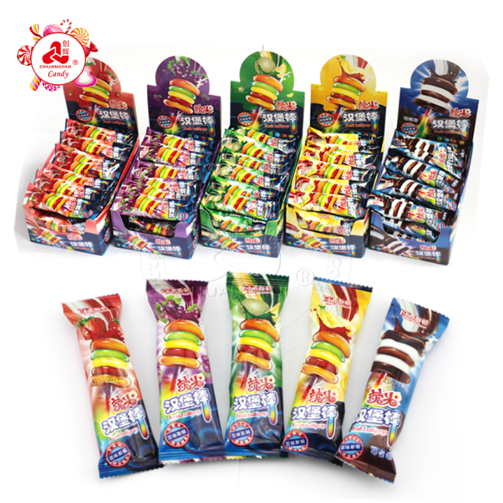 Fruit Hamburger Glow Stick Lollipop Candy