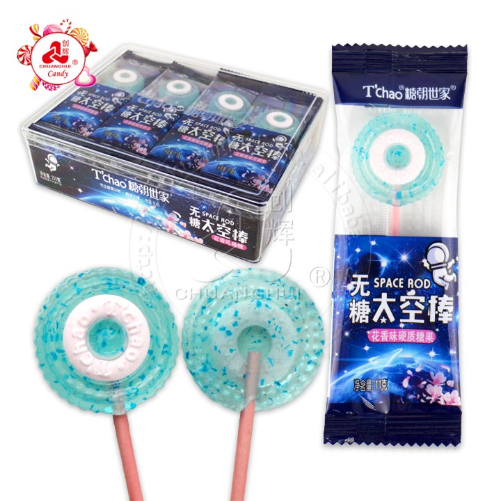Sugar free Space lollipop mint and floral flavors/ Isomaltol lollipop + sobitol pressed candy