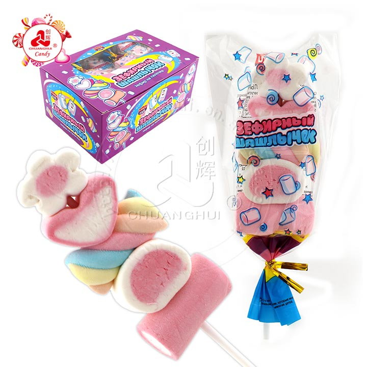 Five kinds of marshmallow lollipop BBQ Sweet Soft Candy