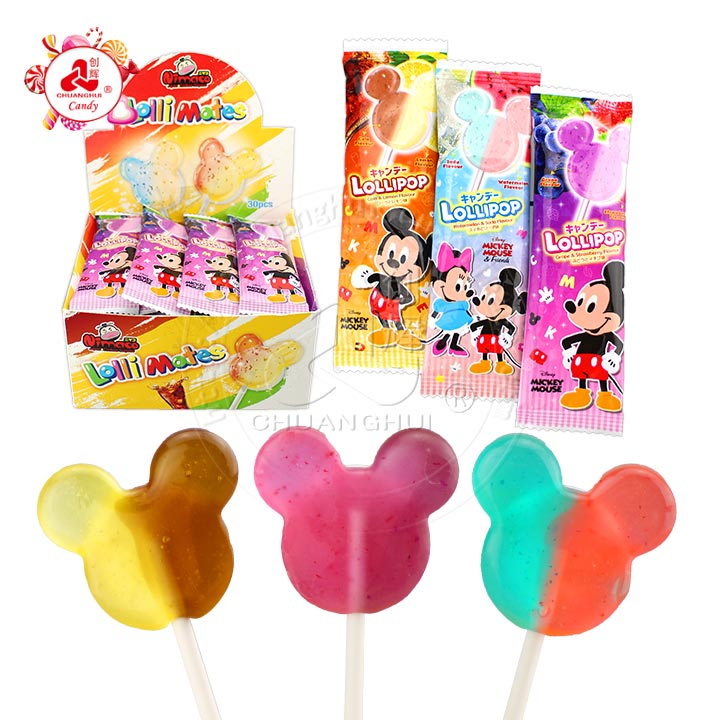 2 in 1 double flavors double colors mickey Lollipop candy