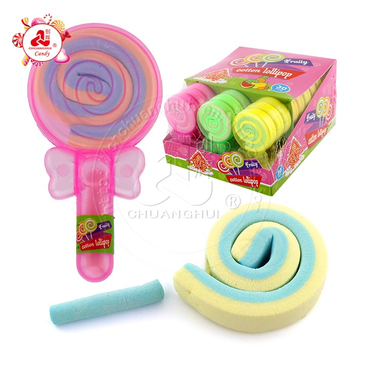 Colourful fruit flavor marshmallow with bowknot cotton lollipop
