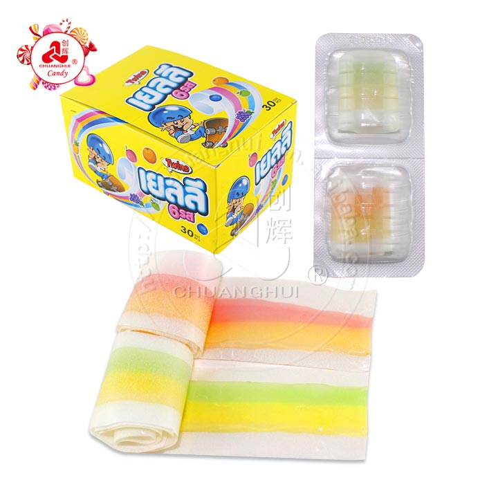 2pcs in 1 fruit Flavors soft gummy roll gummy candy in tablet