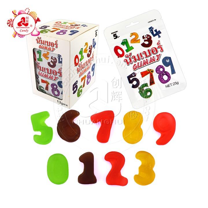 Vente chaude fruits gelée bonbons en forme numérique nombre de bonbons gommeux bonbons mous