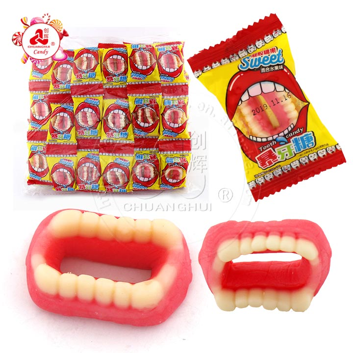 Funny tooth shape fruit shape soft candy Halloween gummy candy