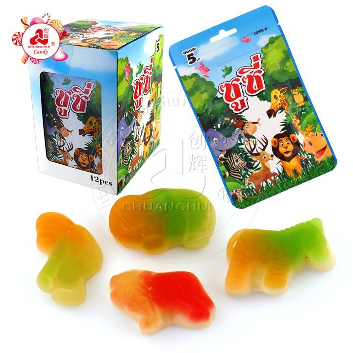 Bonbons à la gelée de saveur de fruits halal Bonbons gommeux de forme animale Bonbons mous animaux