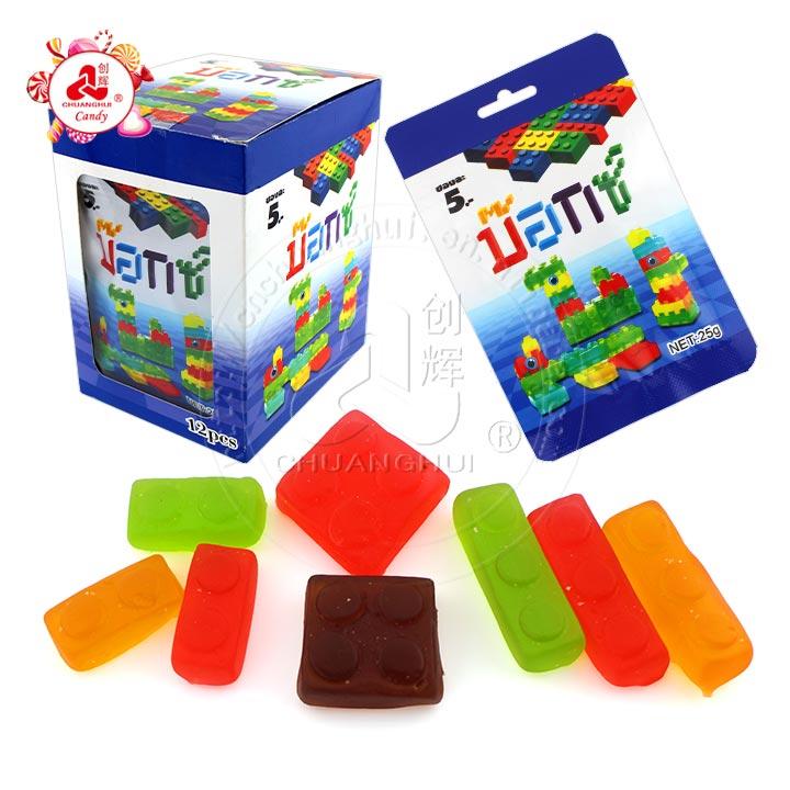 Bonbons à la gelée à saveur de fruits halal Blocs de construction Bonbons gommeux 4D Blocs de construction Bonbons mous