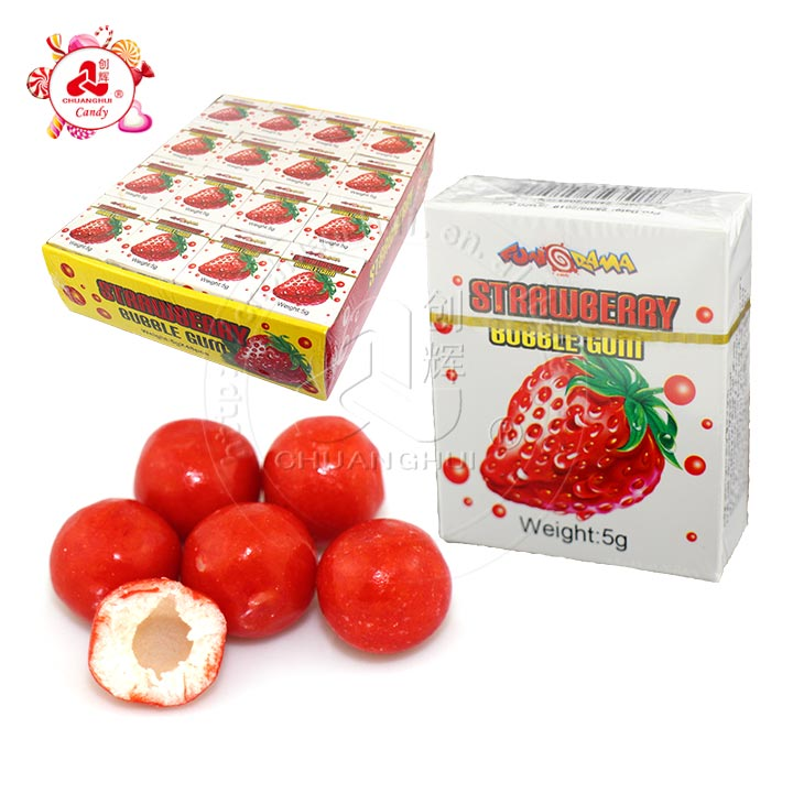 Strawberry flavor ball bubble gum in box