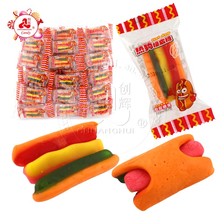 Hot dog shape fruit flavor chewy candy hot dog gummy candy