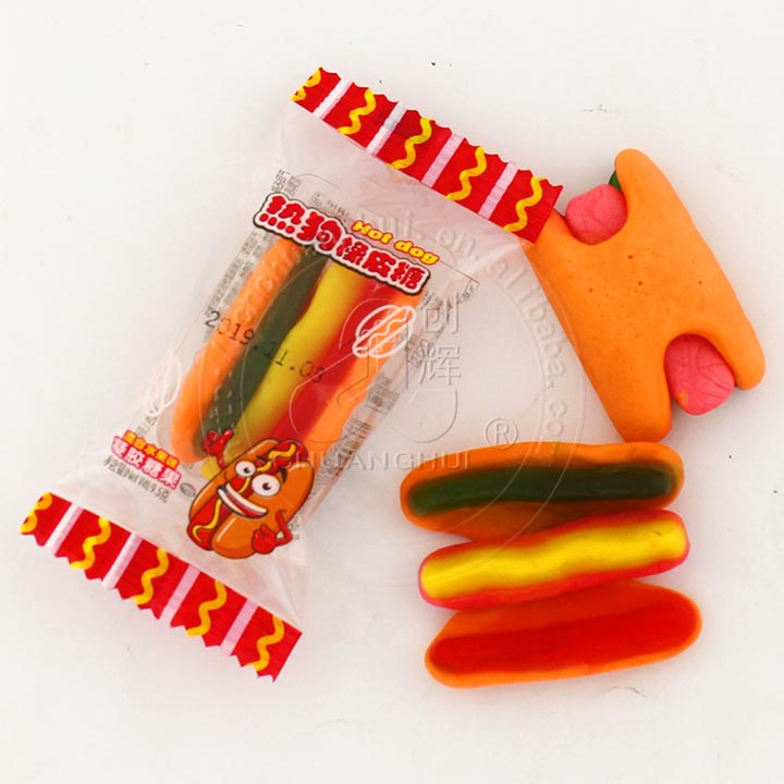 Hot dog shape fruit flavor chewy candy hot dog gummy candy Manufacturers, Hot dog shape fruit flavor chewy candy hot dog gummy candy Factory, Supply Hot dog shape fruit flavor chewy candy hot dog gummy candy