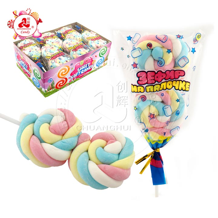 2 in 1 Twist roll marshmallow Lollipop Sweet Soft Candy