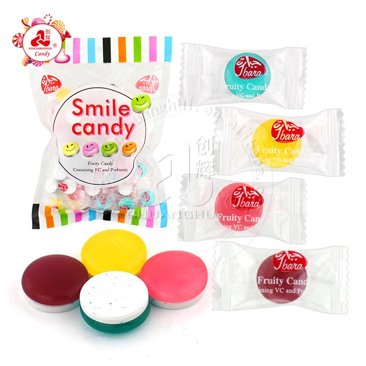 2 in 1 Smile hard candy with sour sobitol sugar free press candy, fruity containing VC vitamin