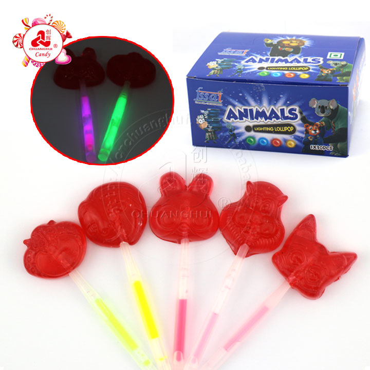 Fruit Flavor Animals Fluorescent Lollipop Candy