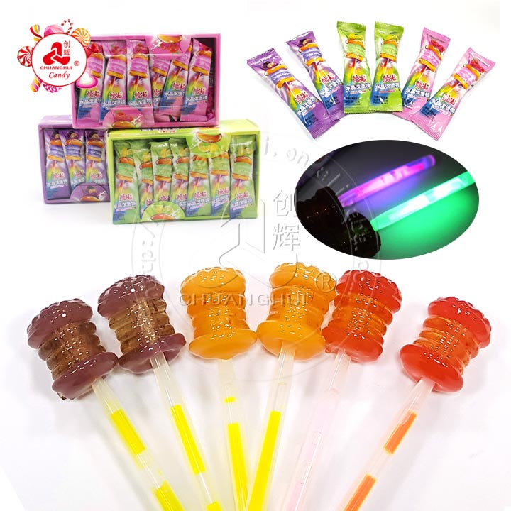 Cristal Hamburger Shaped Glowing Neon Light Lollipop Candy