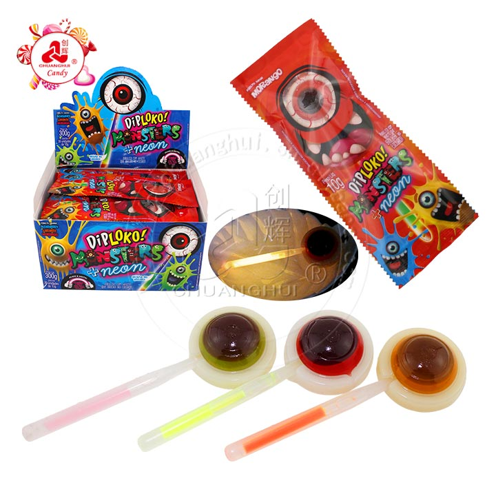 Halloween Devil's Eye shaped Fluorescent Glowing Neon Lollipop