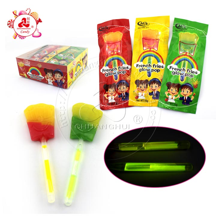 French Fries Shape Glowing Lollipop With Fluorescence Stick