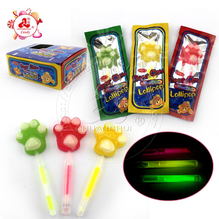Bear paw glow stick lollipops