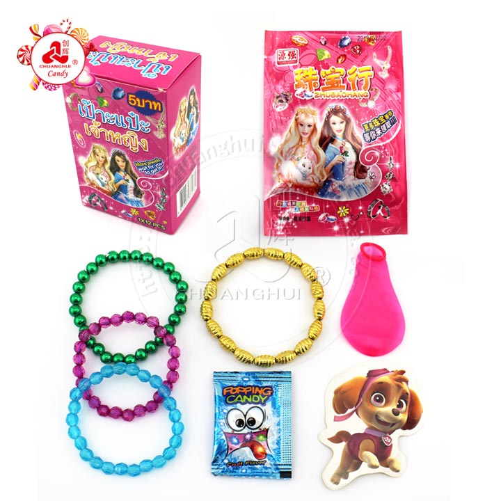Surprise jewelry bag with popping candy & bracelet toy Balloon