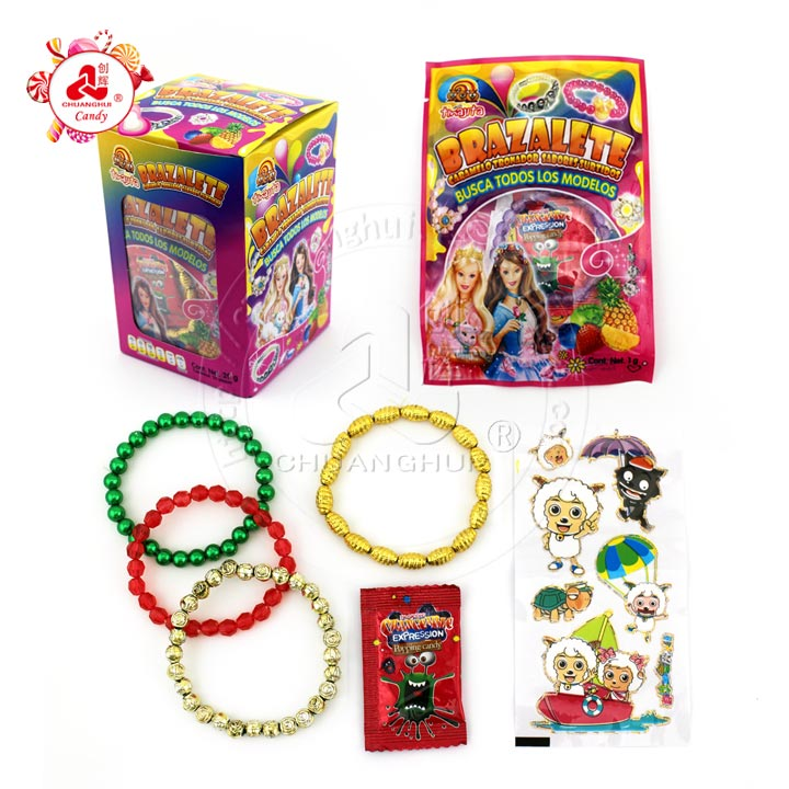 Surprise jewelry bag with popping candy & bracelet toy