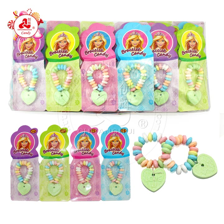Colorful Fruity Heart shape bracelet pressed candy in tablet paper
