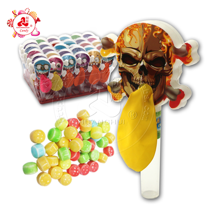 Cartoon Skull Balloon With Whistle Candy Toy