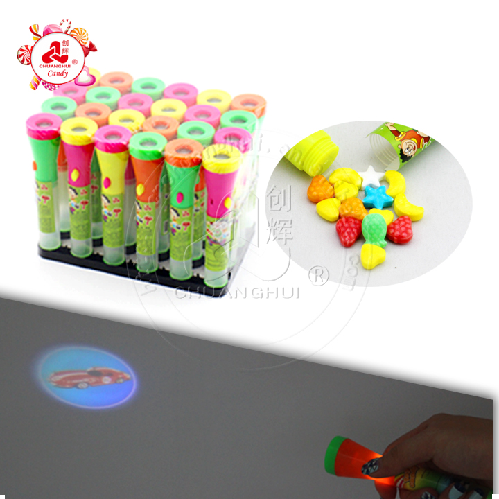 Hot Sale Picture Torch Candy Toy / Cartoon Projection Flashlight Toy Candy