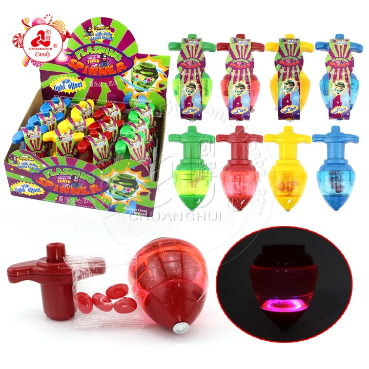 Glowing Peg-top Toy LED lightning Big Gyro with jelly bean candy