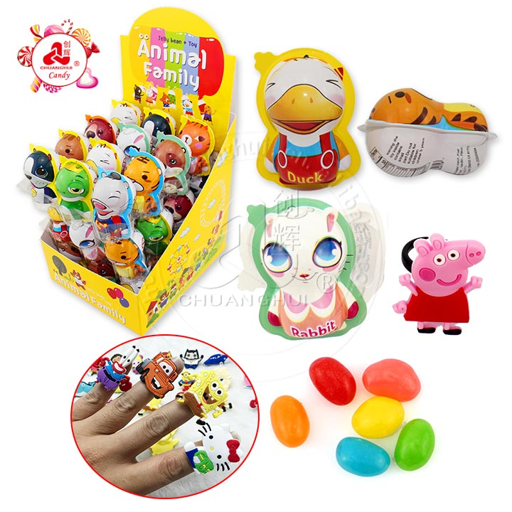 High quality Animal surprise egg with ring toy jelly bean candy