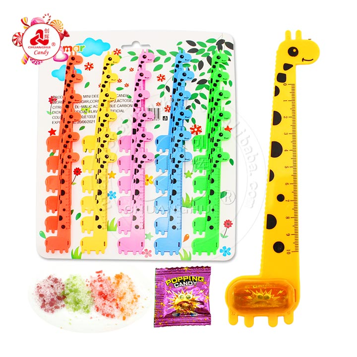 Office Supplies Stationery Cute Giraffe Ruler with popping candy toy