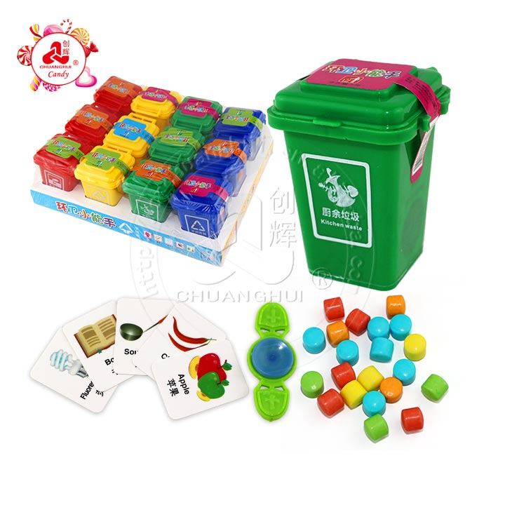 Garbage sorting trash can toy with candy surprise