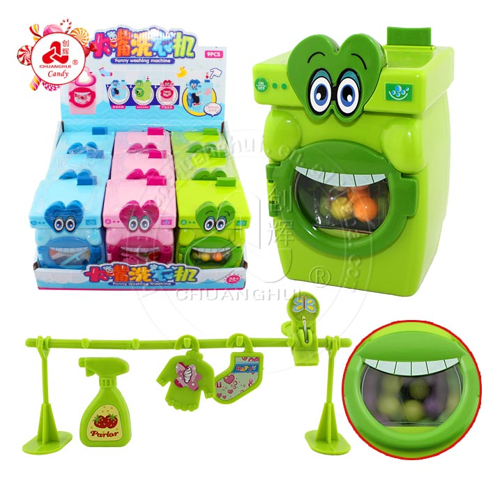 Big Mouth Washing machine toys with clothes-line toy candy / button toys and bead candy