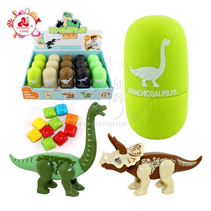 Capsule de bonbons de jouet d'oeufs de surprise colorés combinables avec des jouets de dinosaures herbivores