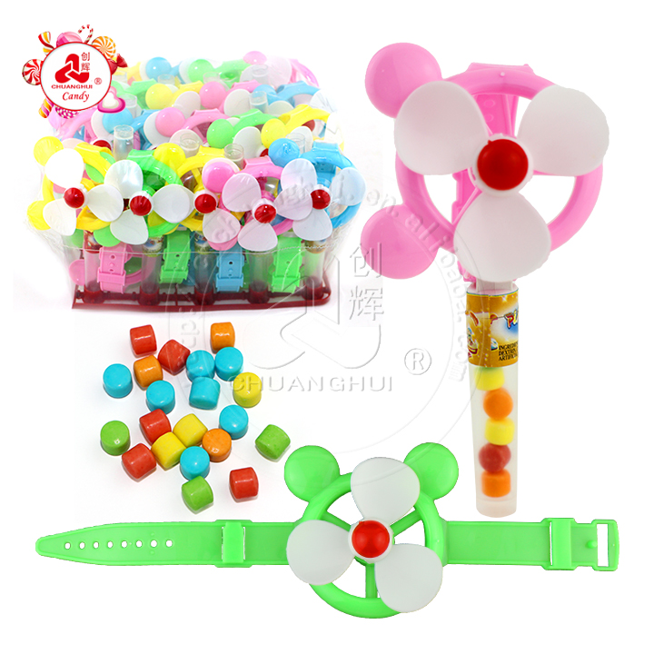 Colorful Mickey Fan Watch with windmill toy candy