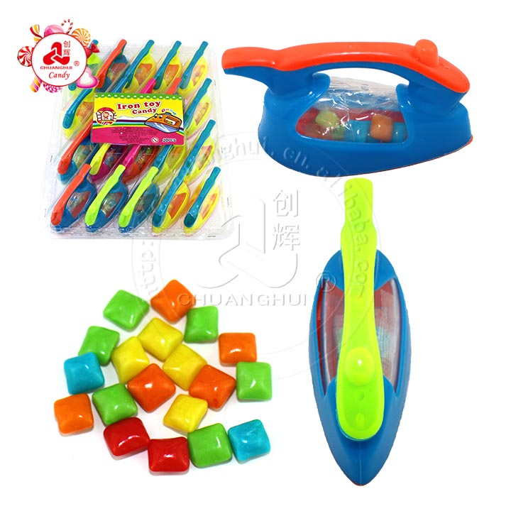 Electric Iron Shape Toys with Fruity Bubble Gum Candy in PVC display