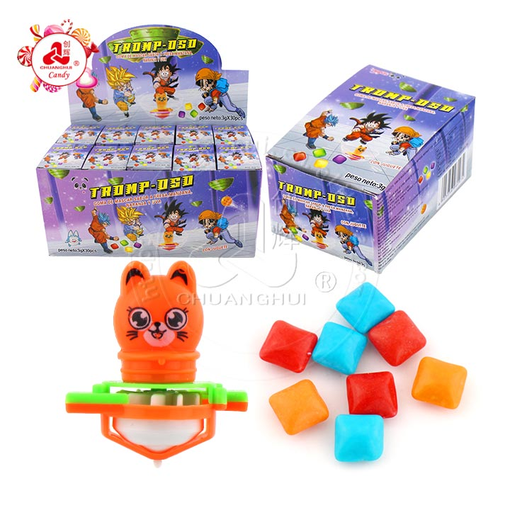 Kids Blowing Whistle Peg-top Toy Animal Gyro Toy with mini bubble gum candy in the box