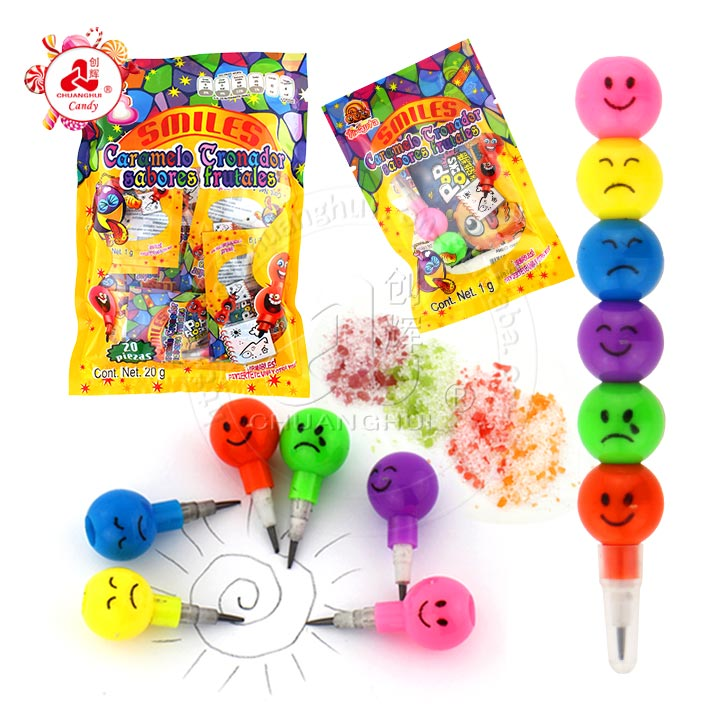 Emoji face String-Link Pencil Toy and popping candy in the bag